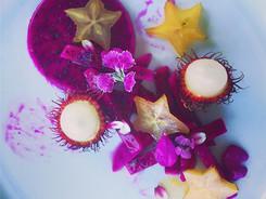 Galactic Fruit Salad with Dragonfruit, Starfruit and Rambutan