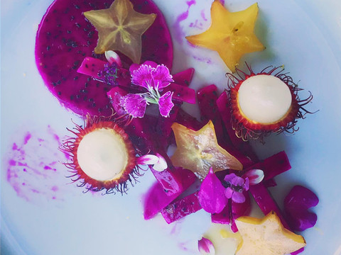 Galactic Fruit Salad with Dragonfruit, Starfruit and Rambutan