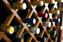Close up photo of wine bottles
