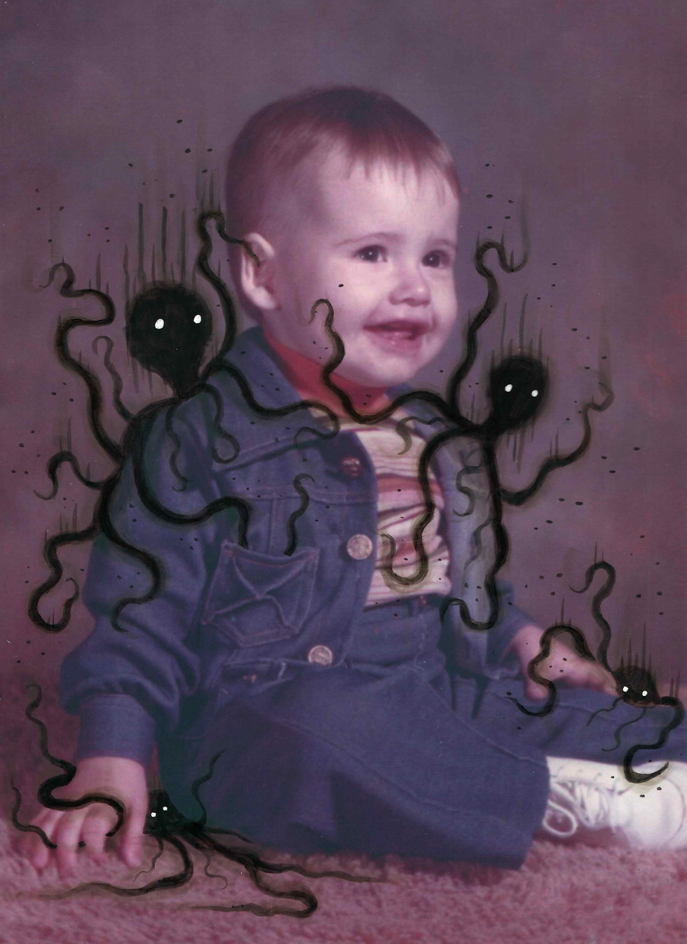 Baby Mark S Gagne with his ink monsters