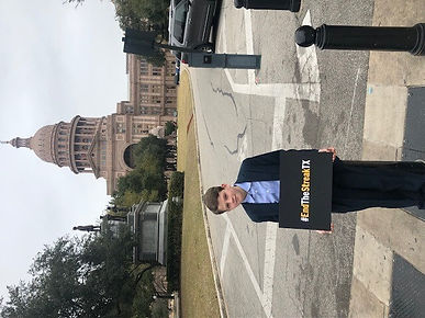 Cooper McGough in front of Texas State C
