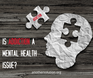 Image of a human head with missing puzzle piece that says addiction on it - from www.anothersolution.org