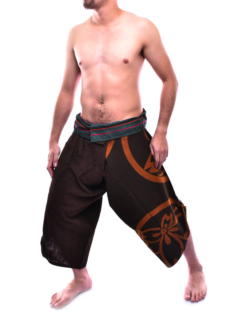 Limited Edition Brown Japan Pattern Samurai Pants Unique Handmadeis Inspired By X Hmong Hill Tribe Style Is Made Of High Quality