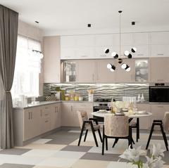 Один из вариантов кухни-гостиной в нашем проекте частного дома.