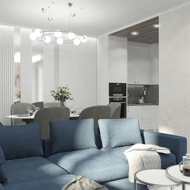 Лаконичность и минимализм - особенность современного стиля в дизайне кухни-гостиной.