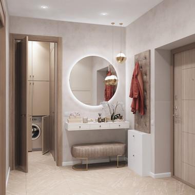 """Устроим небольшую экскурсию нашего нового проекта в жк """"Арбат"""" из коридора в кухню-гостиную. Современный стиль, сдержанная гамма и минимум декора."""