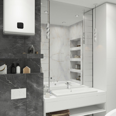 Строгая и лаконичная мраморная ванная комната