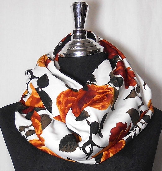 Floral Print Fleece lined Infinity Scarf