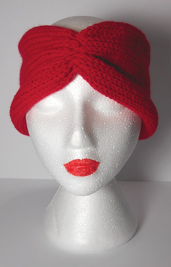 Red Knit Head Band Ear Warmer