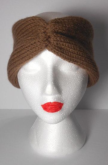 Beige and tan Knit Head Band Ear Warmer