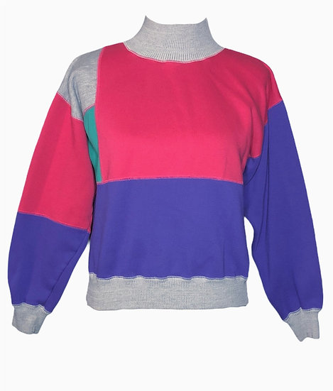 Small Vintage early 90's colour block turtle neck