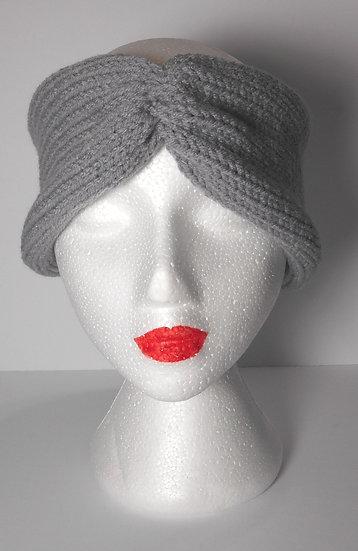 Grey Knit Head Band Ear Warmer