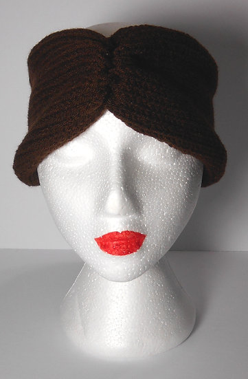 Brown Knit Head Band Ear Warmer