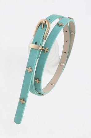 Cross lined skinny belt