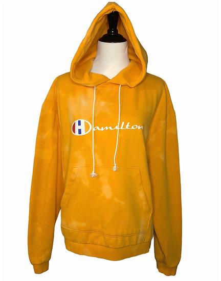 Distressed light orange reverse tie-dye Hamilton hoodie