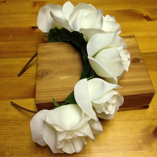White Rose Flower headband