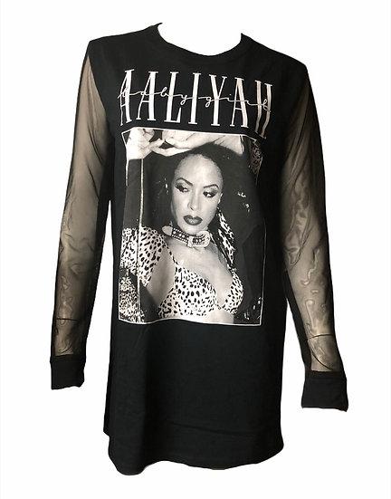 Aaliyah sheer sleeve Modified T-Shirt
