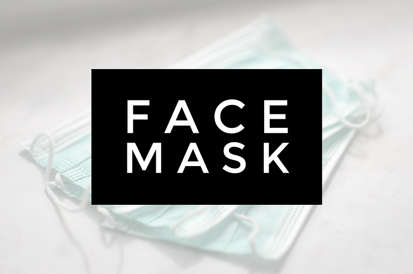 General Face Mask, Your choice of plain black or dark grey