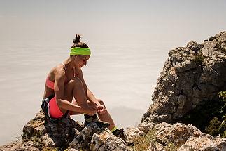 woman trail running Alaska