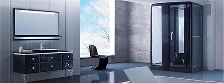 Badezimmer mit Dampfdusche und Design-Waschtisch