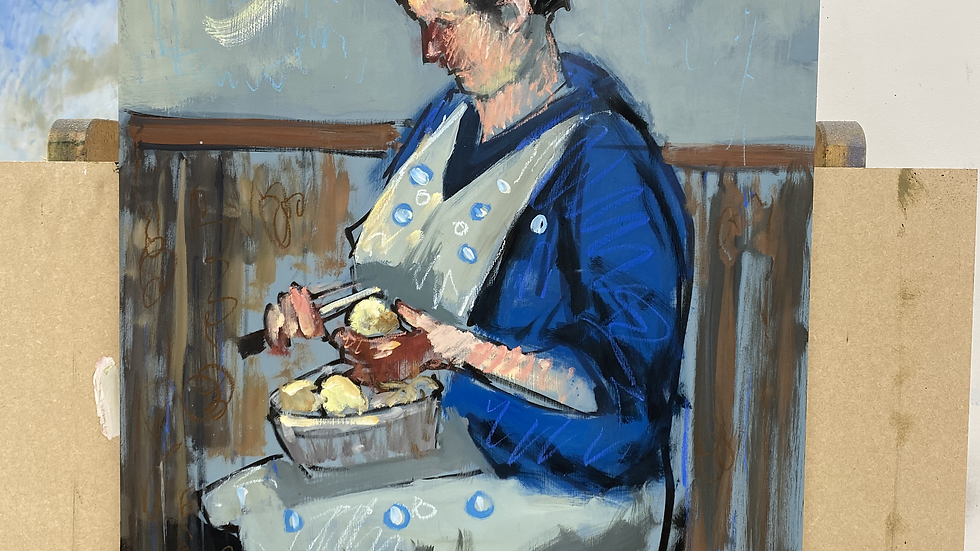 """5. The artist's mother peeling spuds after Norman Cornish 20x30"""""""