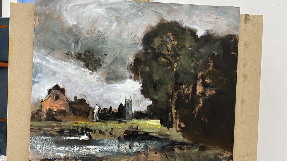 8. An Ebauche underpainting for Dedham Mil and Lock  after John Constable, 20x24