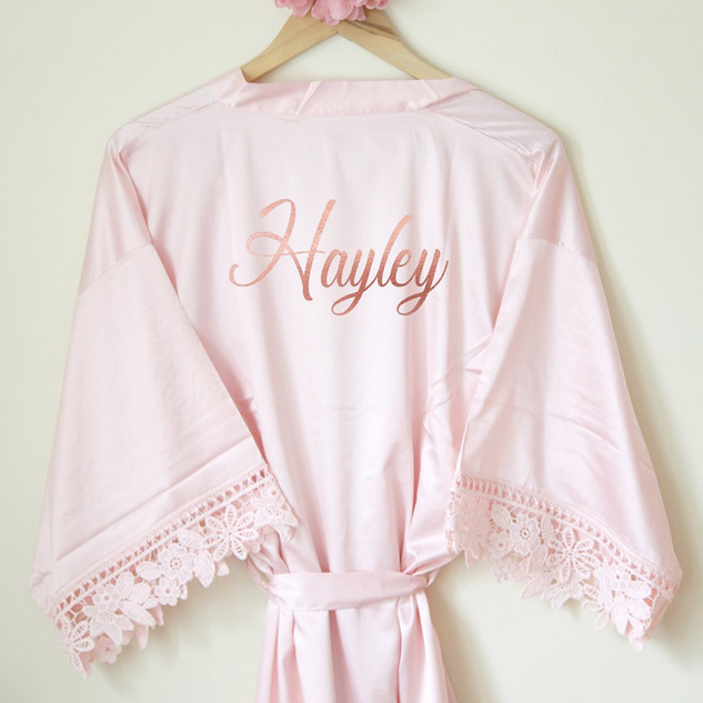 Pink Custom Satin Spa Robe