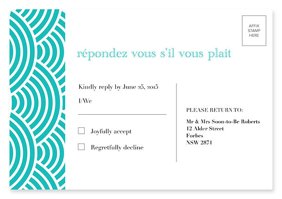 Ampersand RSVP Card (Aqua)