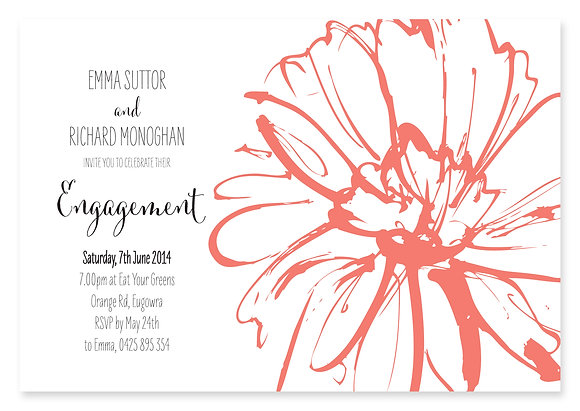 Sketch Flower Engagement Invitation (Peach)