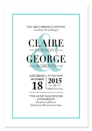Ampersand Wedding Invitation (Aqua)