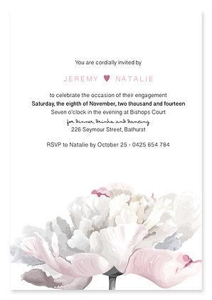 Simple Peony Engagement Invitation