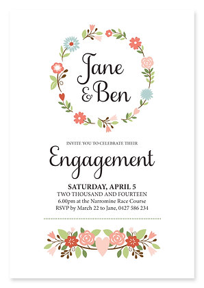 Floral Wreath Engagement Invitation