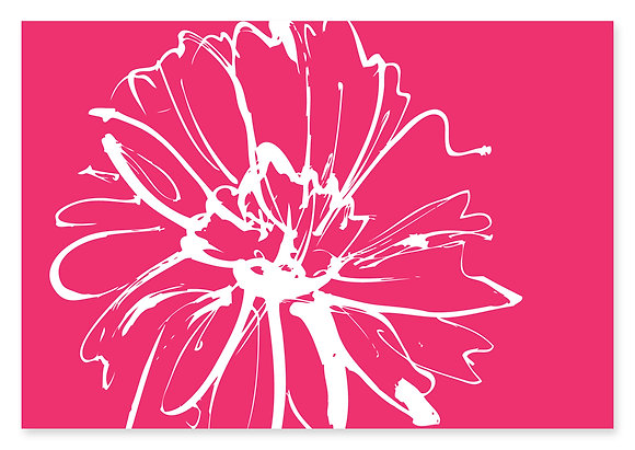 Sketch Flower Engagement Invitation (Pink)