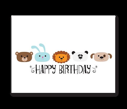 Happy Birthday (Animal Faces): Set of 3