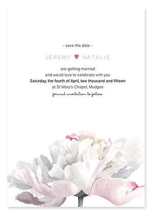 Simple Peony Save The Date