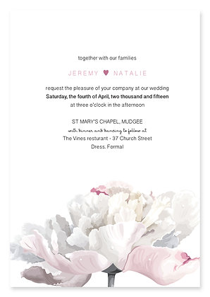 Simple Peony Wedding Invitation