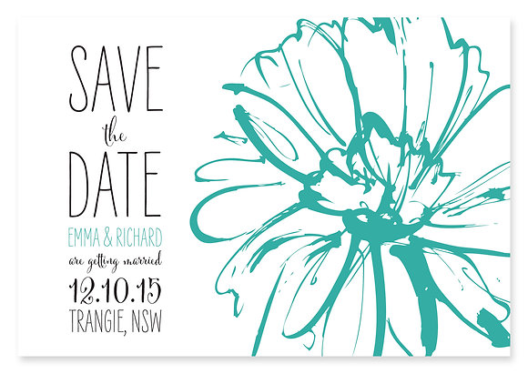 Sketch Flower Save The Date (Turquoise)