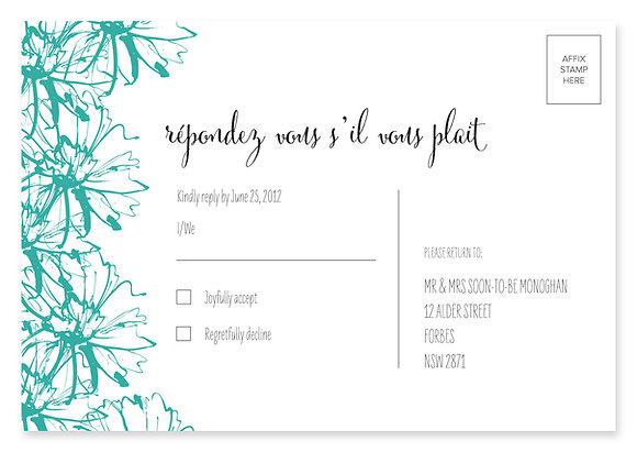 Sketch Flower RSVP Card (Turquoise)