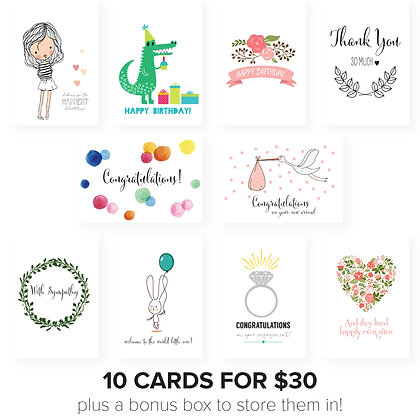 Boxed Set of 10 cards