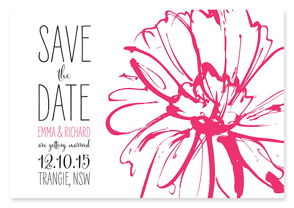 Sketch Flower Save The Date (Pink)