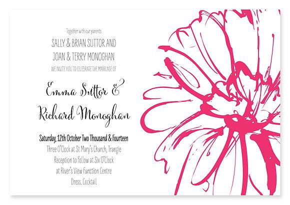 Sketch Flower Wedding Invitation (Pink)