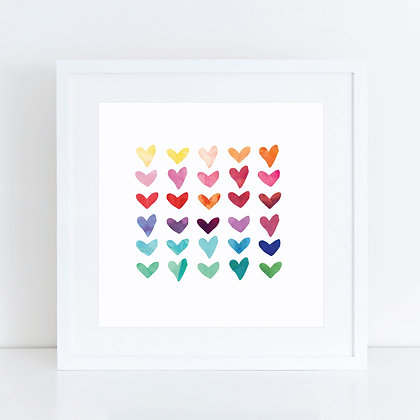 Watercolour Hearts: Set of 2