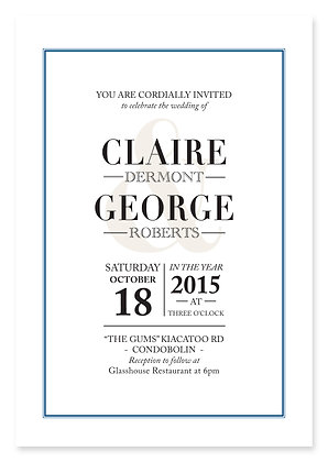 Ampersand Wedding Invitation (Navy)
