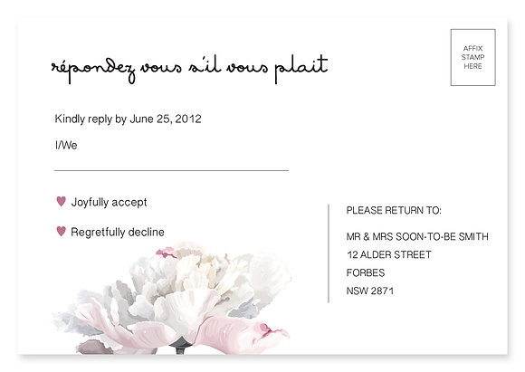 Simple Peony RSVP Card