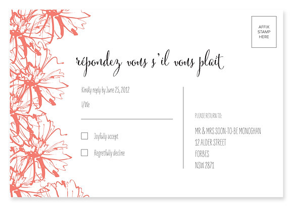 Sketch Flower RSVP Card (Peach)