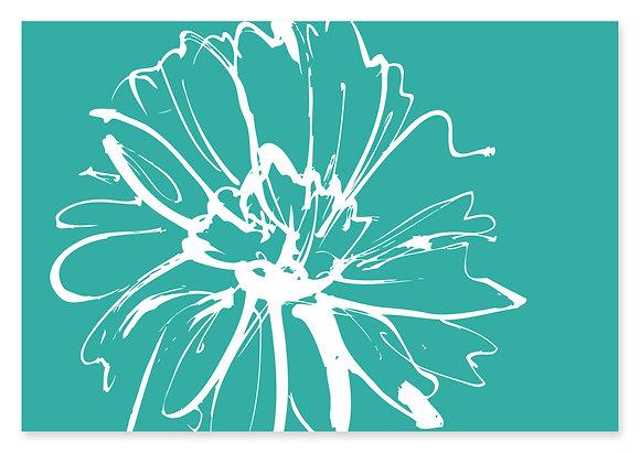 Sketch Flower Wedding Invitation (Turquoise)