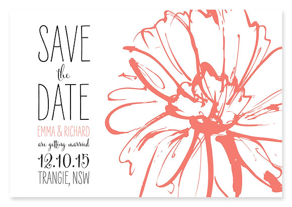 Sketch Flower Save The Date (Peach)