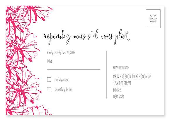 Sketch Flower RSVP Card (Pink)