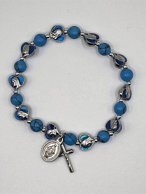 Pulsera elástica de la Virgen María con piedras azules