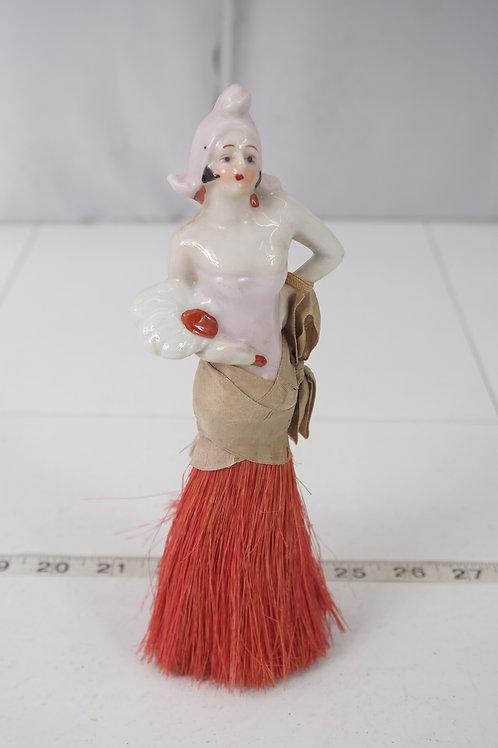 Porcelain Art Deco Half Doll Hat Or Vanity Brush